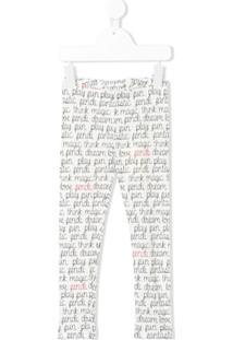 Fendi Kids Legging Com Estampa De Logo - Branco