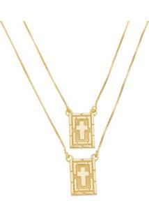 Escapulário Cruz Diamantado Tudo Joias Folheado A Ouro 18K - Masculino-Dourado