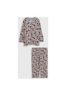 Pijama Malwee Liberta Longo Infantil Raposa Cinza/Bege