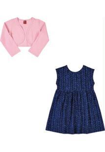 Vestido Com Bolero Infantil Azul