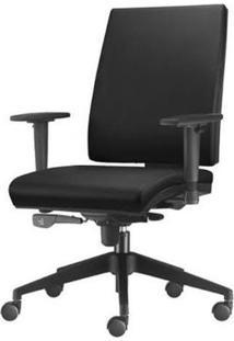 Cadeira Simple Presidente Com Braco Em Courino Assento Courino Preto Base Nylon Piramidal - 54914 Sun House