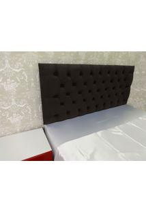 Cabeceira Roma Casal 1,40M Capitonê Painel Suede Tabaco Marrom Escuro Kasabela