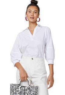 Amaro Feminino Camisa Manga 3/4 Algodão, Branco