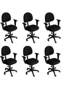 Conjunto Com 6 Cadeiras De Escritório Secretária Giratória Executiva Preto