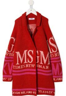 Msgm Kids Casaco Com Logo - Vermelho