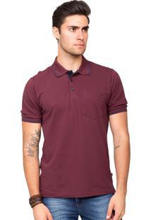 Camisa Polo Piquet Tony Menswear Com Bolso Modelagem Ampla Bordô 8644b6728fb86