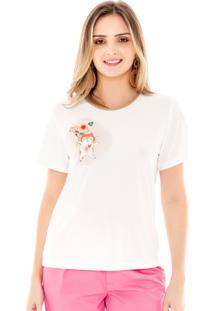T-Shirt Amora Café Com Estampa Bege