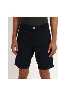 Bermuda De Sarja Masculina Chino Reta Com Bolsos Azul Marinho