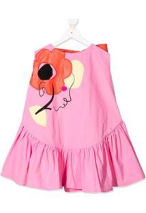 Raspberry Plum Vestido Com Bordado Floral - Rosa