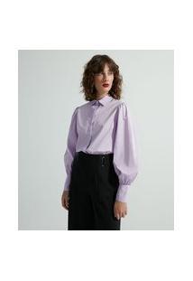 Camisa Manga Longa Bufante Em Tricoline | Cortelle | Roxo | G