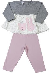 Conjunto De Bebê Cotton Coelha E Ursinha - Feminino