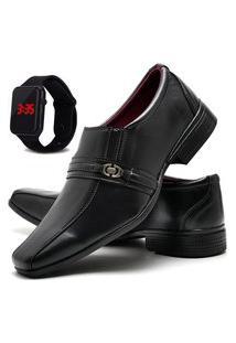 Sapato Social Glamour Com Relógio Led Dubuy 806Od Preto