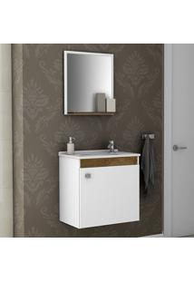 Armário De Banheiro Siena Branco/Madeira Rústica - Móveis Bechara