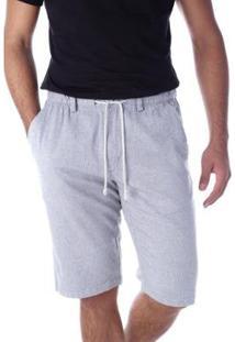Bermuda Sarja Regular Com Elástico Traymon Masculina - Masculino-Cinza