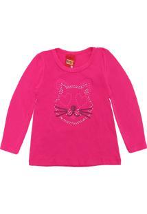Camiseta Kyly Menina Gatinho Rosa