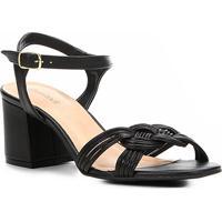 a527f43c5 Sandália Shoestock Salto Bloco Tranças Feminina - Feminino-Preto