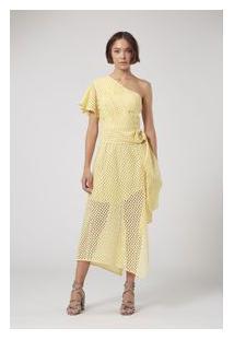 Vestido De Lese Ombro Drapeado Amarelo Vermelho