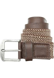 Cinto Corazzi Leather Deluxe Elástico Couro Kaki