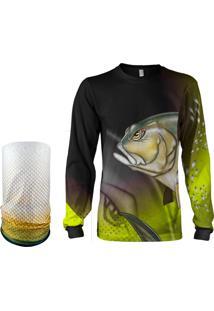 Camisa + Máscara Pesca Quisty Xaréu Surfista Amarelo Proteção Uv Dryfit Infantil/Adulto - Camiseta De Pesca Quisty