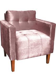 Poltrona Decorativa Lívia Para Sala E Recepção Suede Acetinado Rose - D'Rossi