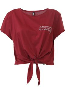 Camiseta Cropped Dimy Amarração Vinho - Kanui