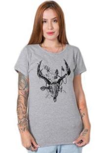 Camiseta Stoned Deer Skull Feminina - Feminino