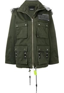 Diesel Jaqueta Militar Com Capuz - Verde
