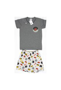 Pijama Curto Masculino Infantil Meia Malha Gola V Brezzi Estampa Football Cor Mescla