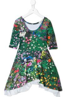 Natasha Zinko Kids Vestido Evasê Com Estampa Floral - Verde