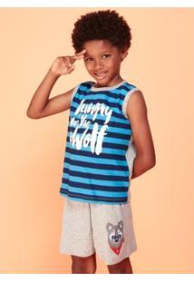 Pijama Infantil Puket Curto Regata Lobo - Masculino