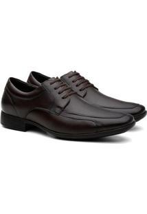 Sapato Social Hshoes Couro Bico Fino Cadarço Conforto Masculino - Masculino-Marrom