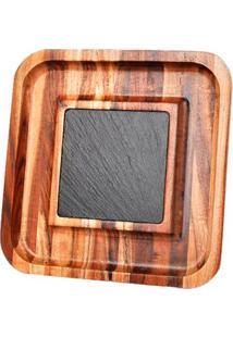 Petisqueira De Madeira James. F Quadrada Com Pedra 25X25 Cm - 29223