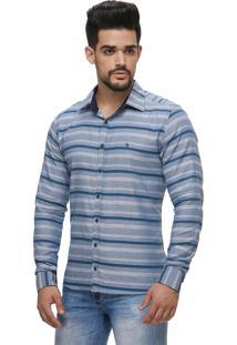 Camisa Zaiko Black Friday Listrada Cinza/Azul Ml