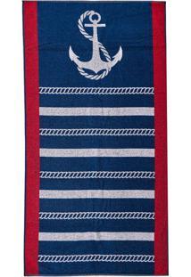 5df861c72 Toalha De Praia Aveludada Estampada Navy Azul Dark Navy Azul Dark