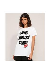 Camiseta De Algodão Da Banda The Rolling Stones Flocada Manga Curta Decote Redondo Off White