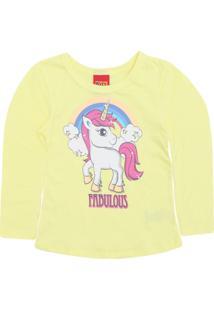 Camiseta Kyly Menina Unicórnio Amarela
