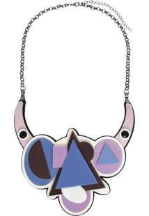 Colar Le Diamond Acrílico Geométrico Multicolorido - Tricae