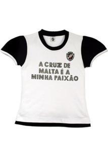 Camiseta Baby Look Reve D'Or Sport Glitter Vasco Branca E Preta