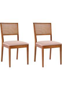 Conjunto De 2 Cadeiras De Jantar Kindon Ii Tela Castanho E Bege
