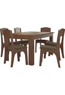 Mesa Externa Retangular Tm21 Com 6 Cadeiras Rústico