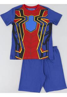 Pijama Infantil Homem Aranha Manga Curta Azul