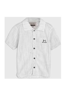 Camisa Brandili Mundi Infantil Mescla Branca/Cinza