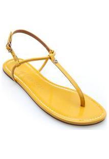 Sandalia Rasteira Rebite Personalizado Amarelo