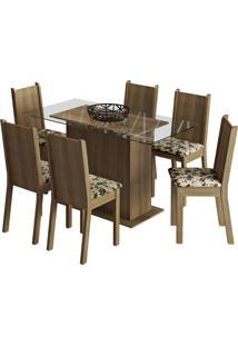 Sala De Jantar Madesa Base De Madeira Com Tampo De Vidro E 6 Cadeiras Molly - Rustic/ Bege-Marrom