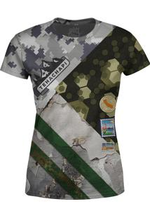 Camiseta Estampada Baby Look Over Fame Camuflada