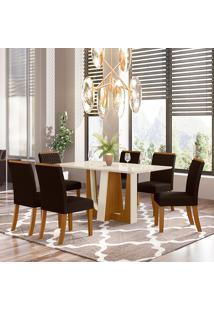 Conjunto De Mesa Com 6 Cadeiras Para Sala De Jantar Suiça-Henn - Nature / Off White / Marrom