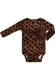 Body Feminino Bebê Suedine Estampa Onça - Feminino