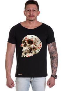 Camiseta Lucas Lunny T Shirt Gola Canoa Caveira Cartas Preta