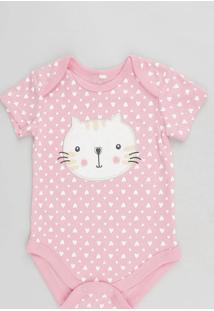 Body Infantil Gatinho Estampado De Coração Manga Curta Decote Redondo Rosa