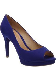 Peep Toe Acamurçado - Azul- Salto: 9,5Cmschutz